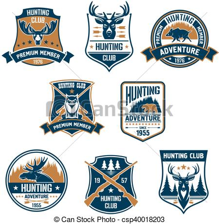 Vector Clipart of Hunting sport club icons and emblems.