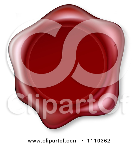 Clipart Of A 3d Red Wax Seal With An Embossed Globe.