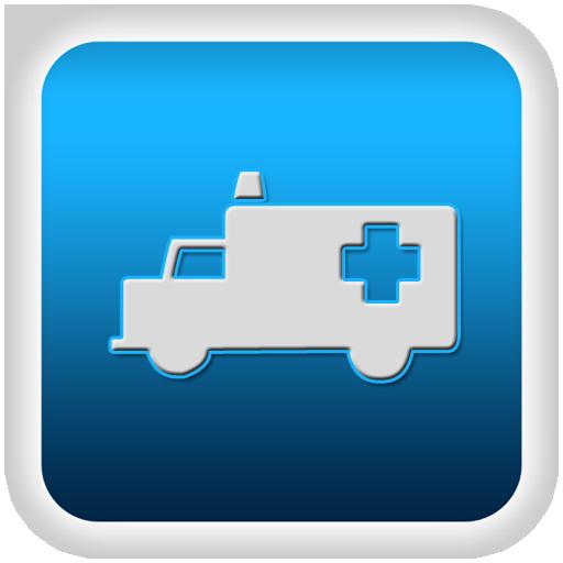 ambulance truck blue button emboss clipart image.