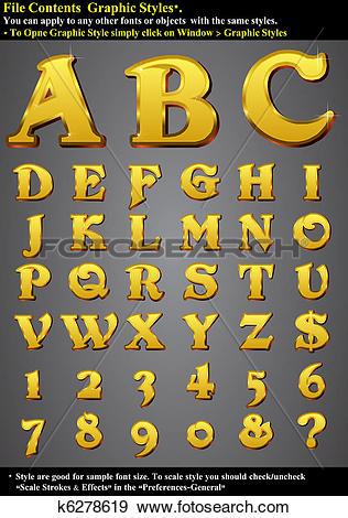 Clip Art of Set Alphabet Emboss Gold k6278619.