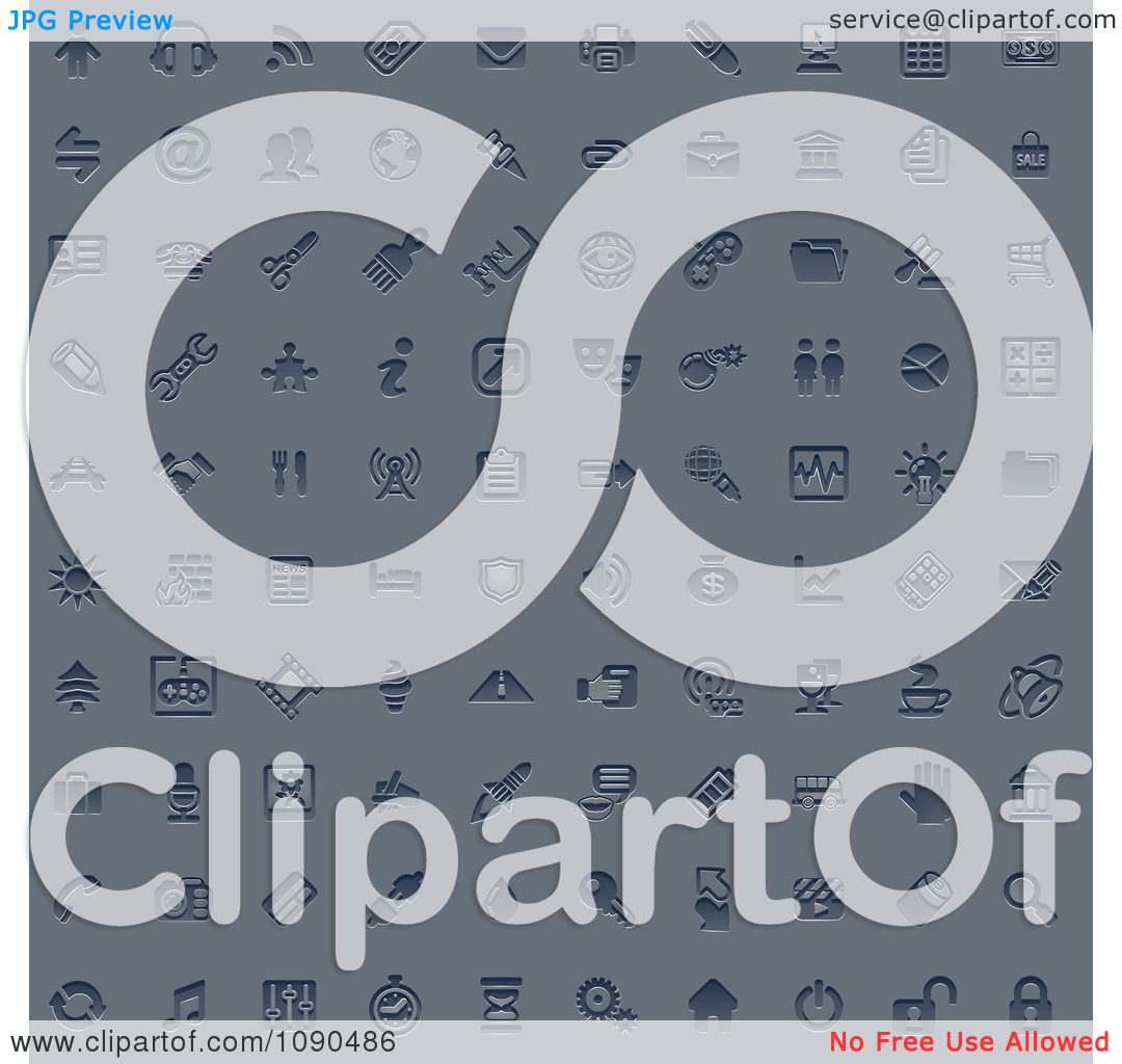 Clipart 100 Embossed Blue Internet Or Web Browser Icons.