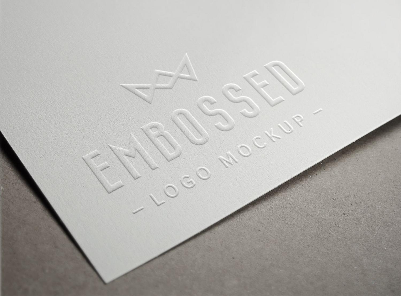 Embossed Paper Logo Mockup.