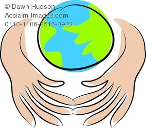 Clipart Image of A Pair Of Hands Embracing The Planet Earth.