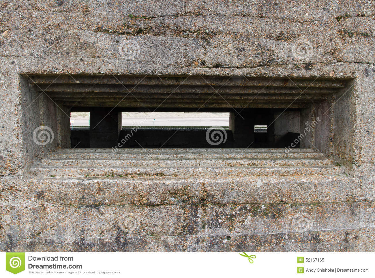 Embrasure Of Vickers Machine Gun Post, World War Two. Stock Photo.