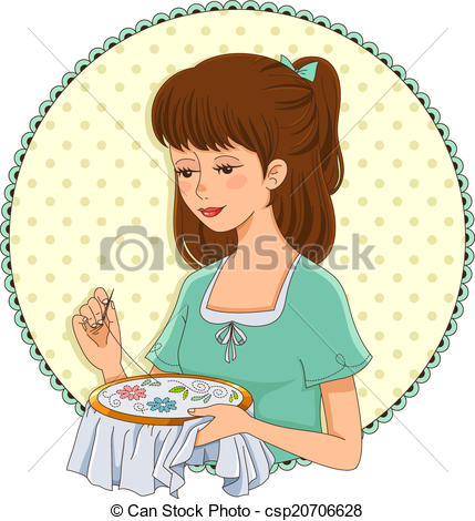 Vector Illustration of embroidering girl.