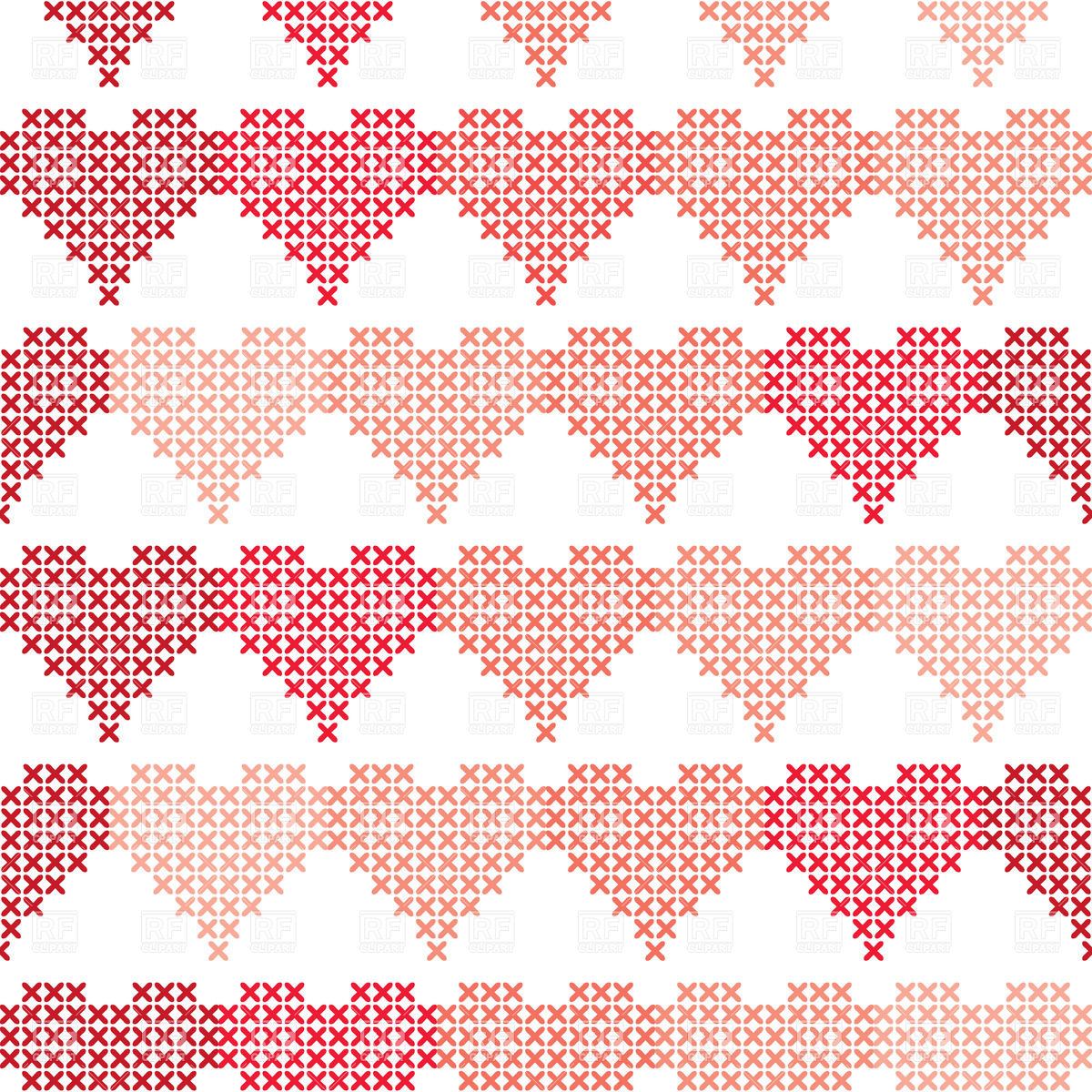 Seamless pattern made of embroidered hearts Vector Image #28115.
