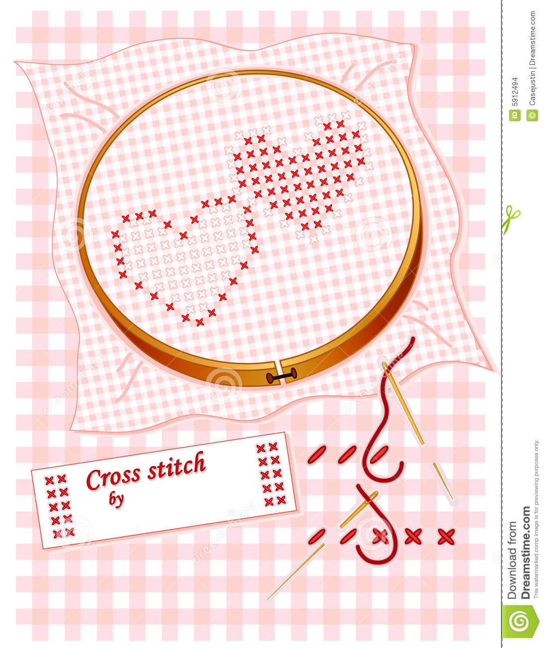 Embroidered Cross Stitch Hearts Stock Images.