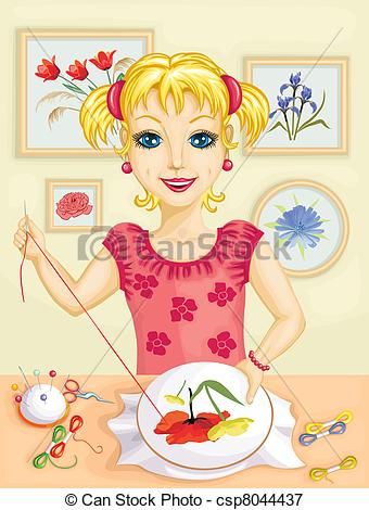 Vectors Illustration of Girl embroidering.