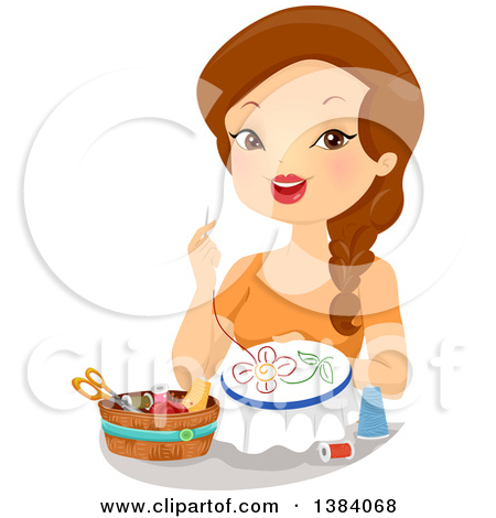 Clipart of a Brunette White Woman Hand Embroidering a Flower.