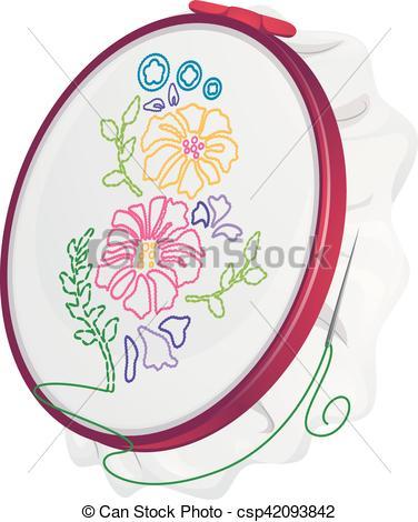 Flowers Hoop Needle Embroidery.