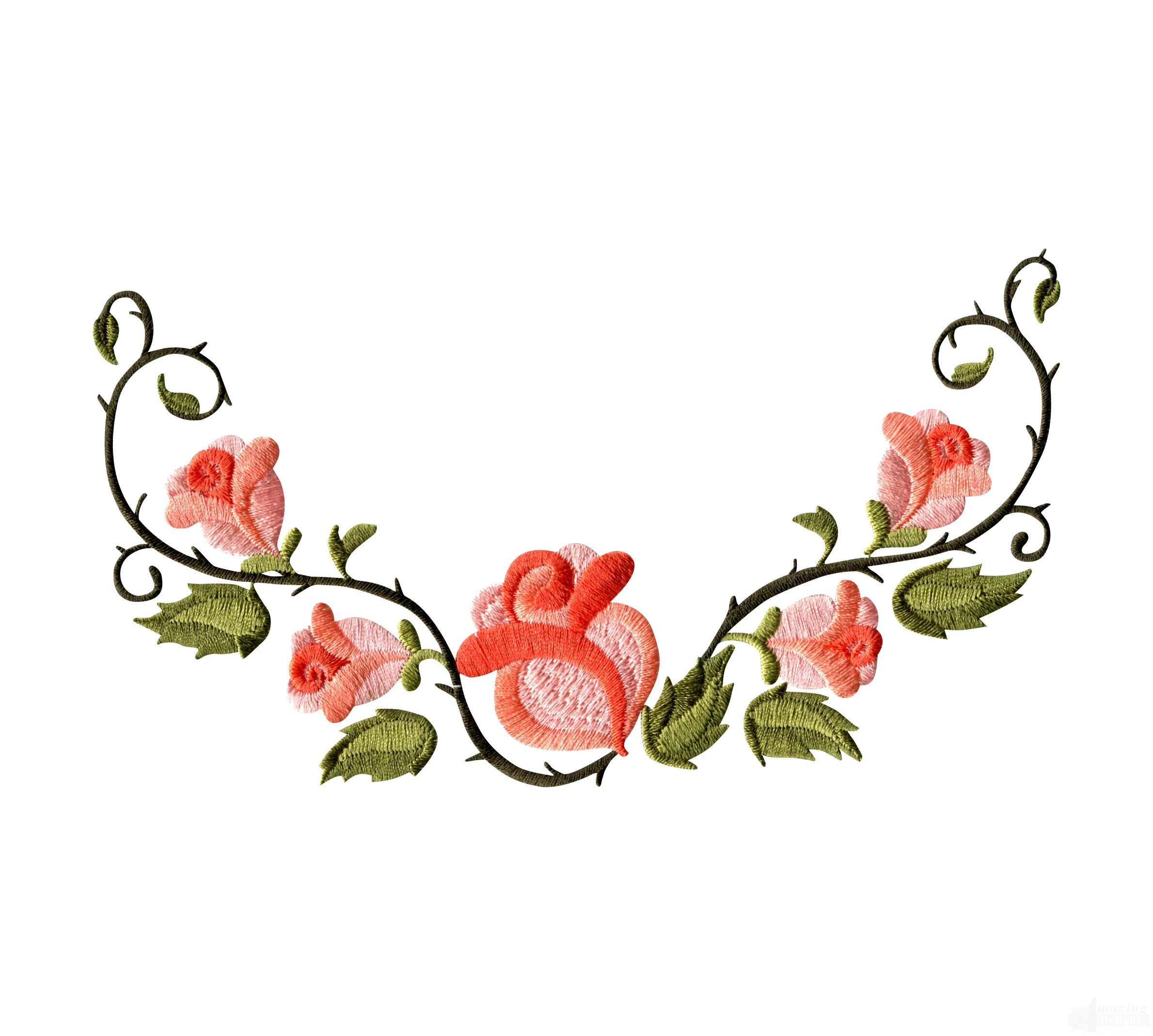 Clipart of Floral Border Embroidery Designs free image.