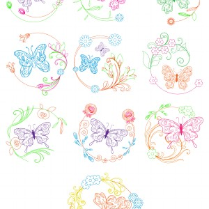 Butterfly Floral Set Semi Exclusive Clip Art Set For Digitizing and More.