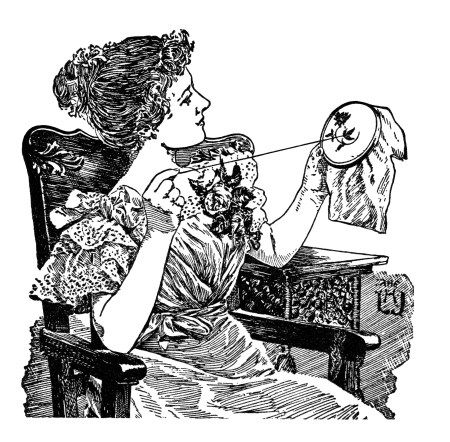 vintage sewing clipart, black and white clip art, lady doing.