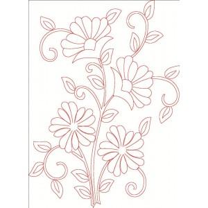 Redwork floral clipart 37.