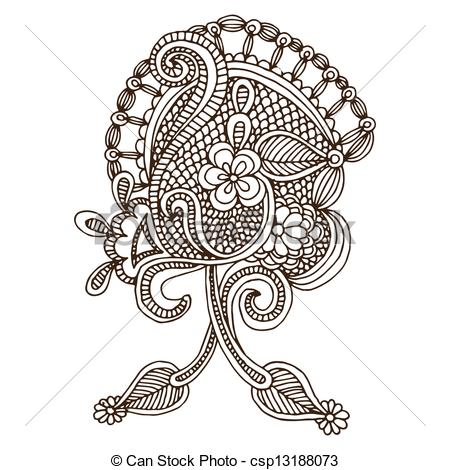 Clipart Vector of Neckline embroidery design.