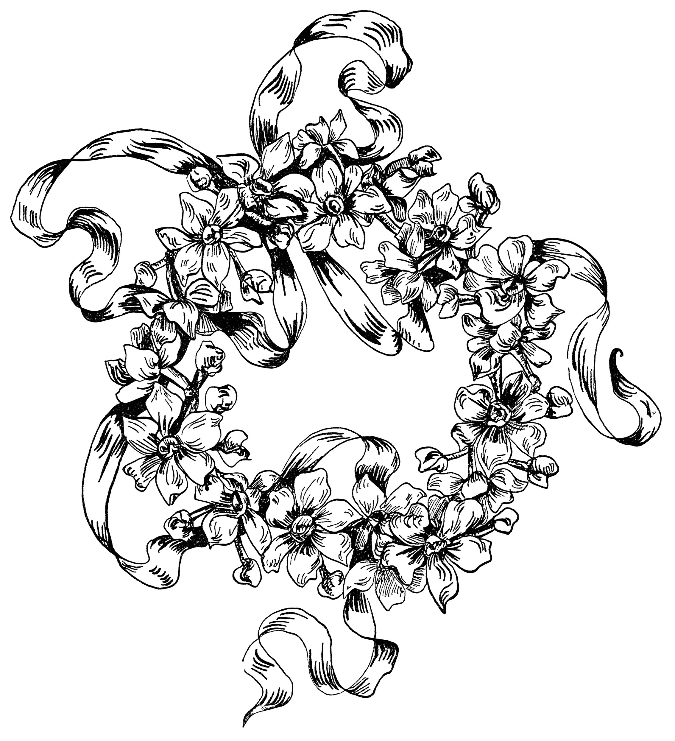 flower design illustration, black and white clipart, ornamental.