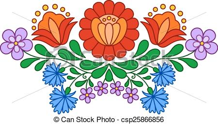 Clipart Vector of Traditional Hungarian folk embroidery pattern.