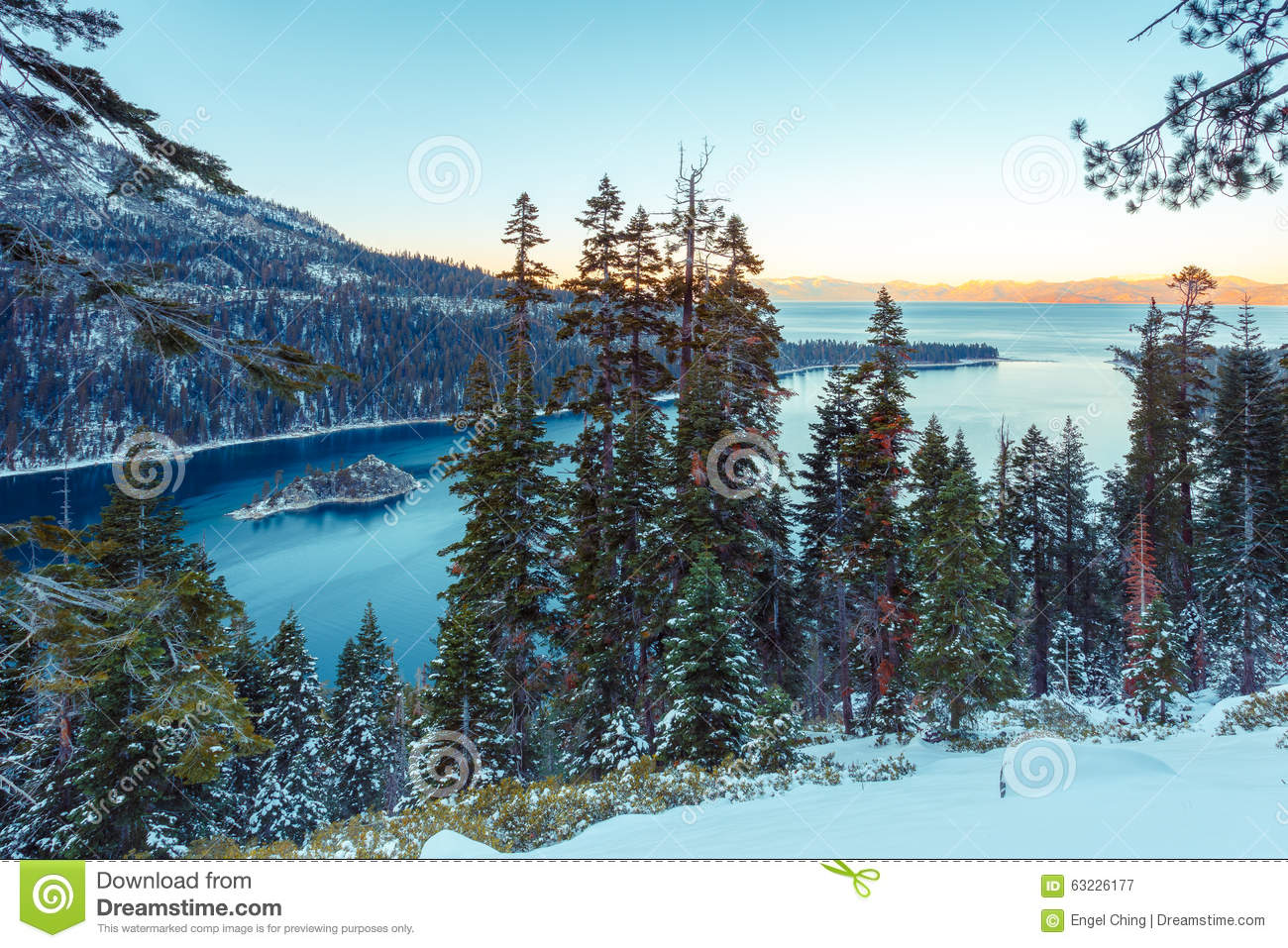 Emerald Bay In Winter Stock Photo.