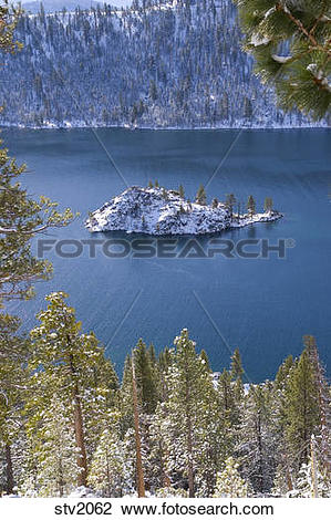 Stock Photo of Wizard Island in Emerald Bay on Lake Tahoe in.