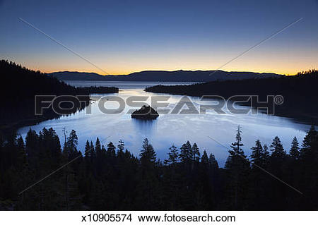 Stock Photo of Emerald Bay and Fannette Island, Lake Tahoe, CA.