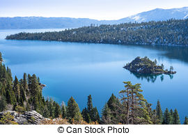 Stock Photographs of Fannette Island in Emerald Bay, Lake Tahoe.