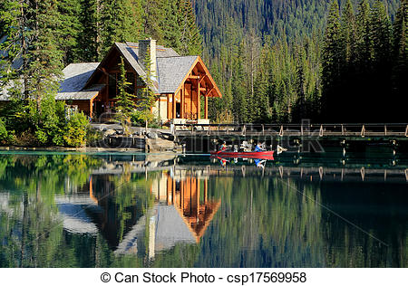 Stock Images Of Wooden House At Emerald Lake Yoho National Park