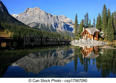 Stock Photographs of Wooden house at Emerald Lake, Yoho National.