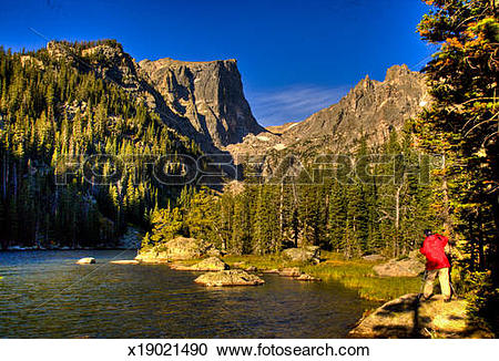 Stock Photography of Emerald Lake, Rock Mt National Park x19021490.