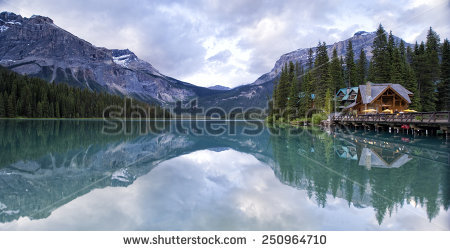 Boat House Distant Mountains On Sunrise Stock Photo 333778616.