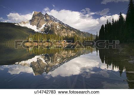 Stock Photo of Emerald Lake Lodge at Emerald Lake, Yoho National.