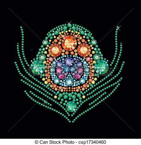 Clip Art Vector of Diamond Peacock Feather.