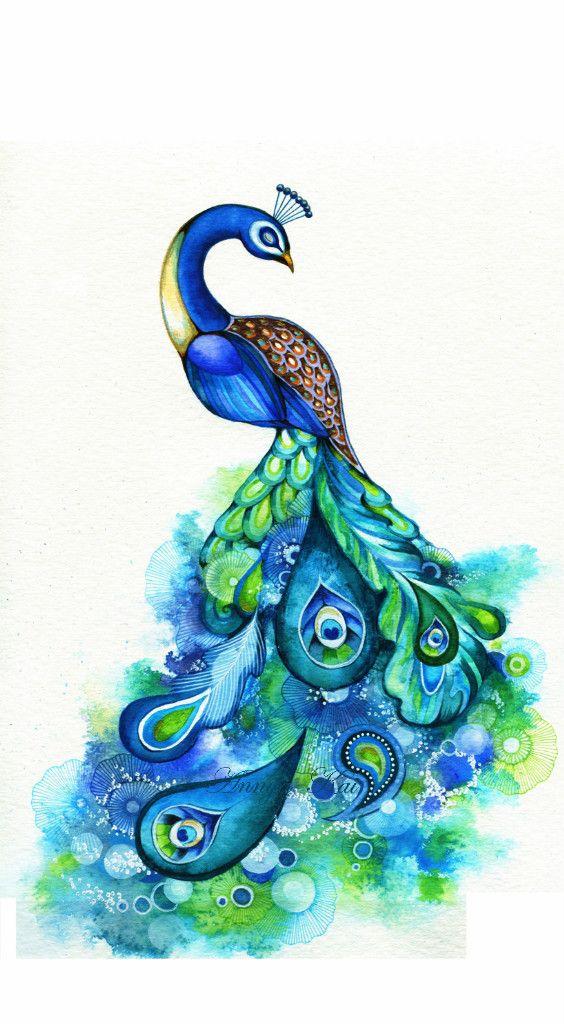 ORIGINAL PAINTING~Modern Peacock Watercolor~Colorful Emerald.