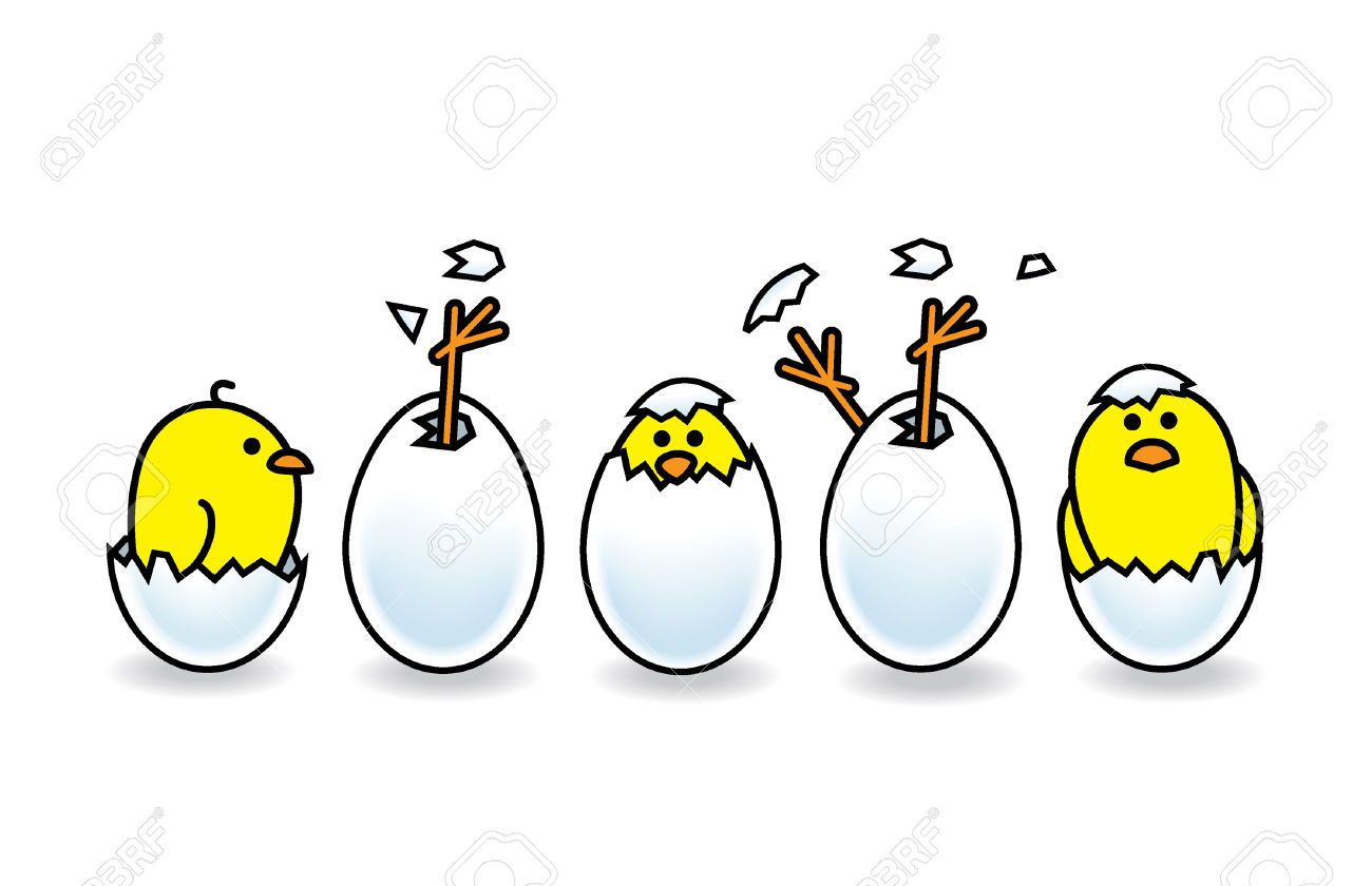 Five Easter Chicks Hatching From White Eggs Royalty Free Cliparts.