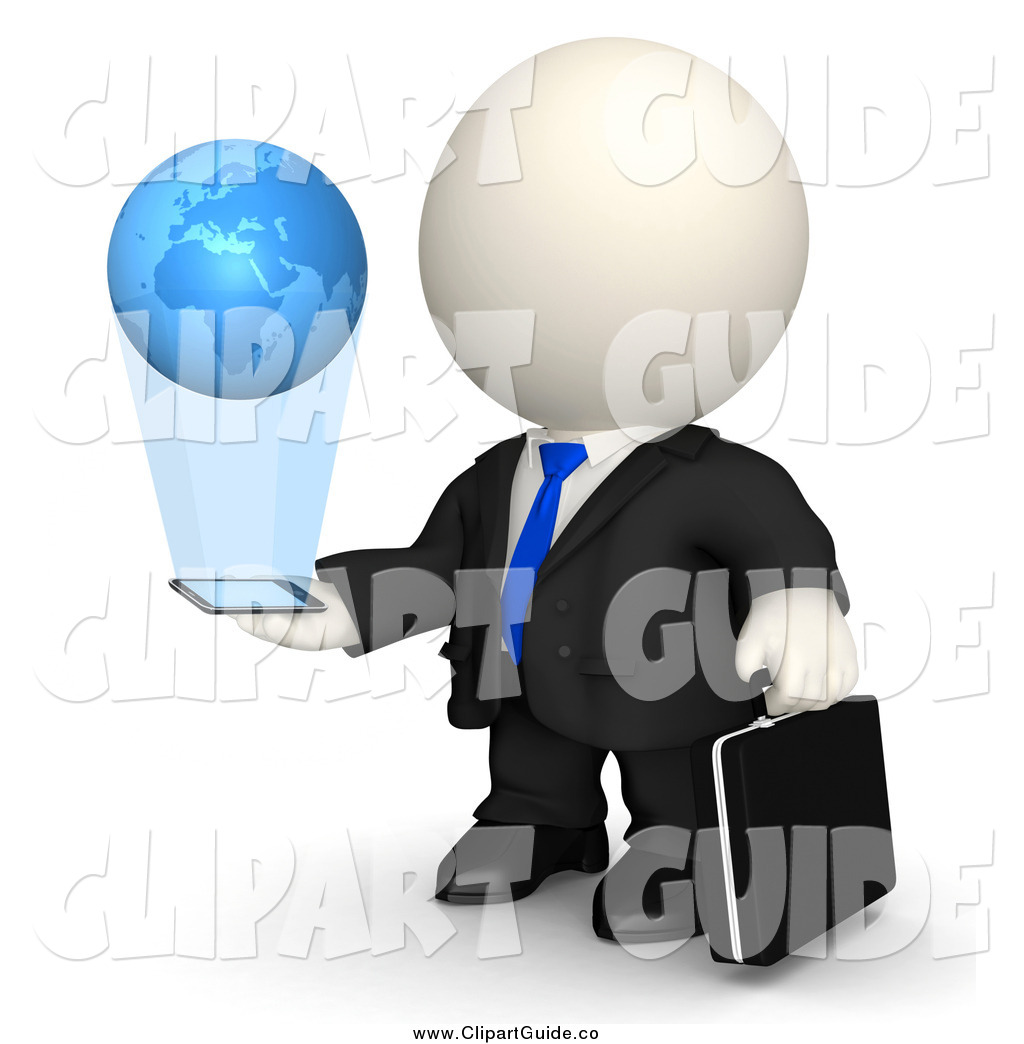 Clip Art of a 3d White Businessman Watching a Globe Emerge from.