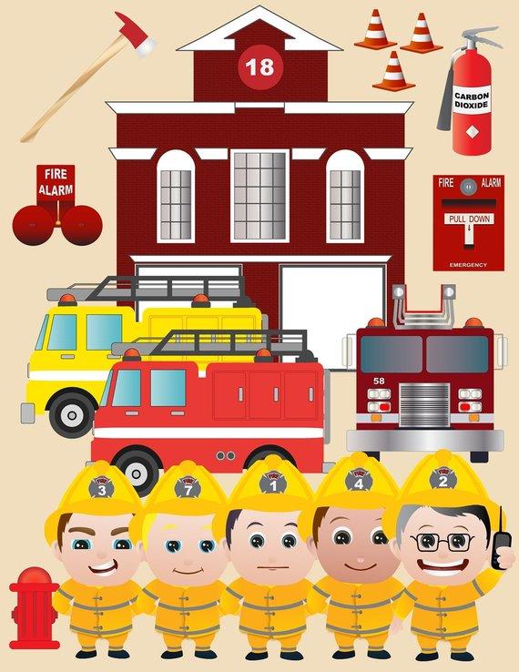 Firemen Clipart Set.