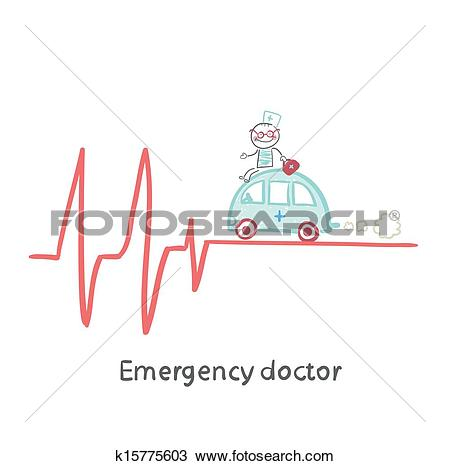 Clipart of Emergency doctor traveling by car on ECG k15775603.