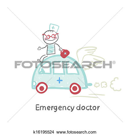 Drawings of Emergency doctor travels by car k16195524.