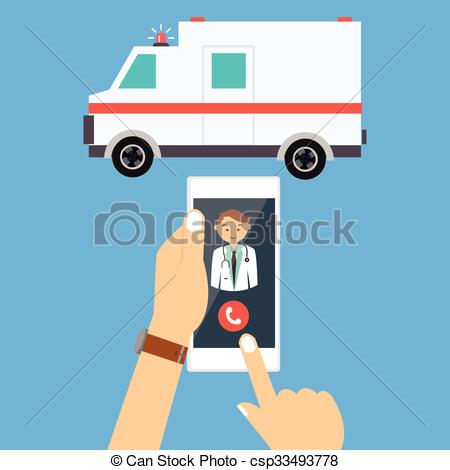 Vectors Illustration of call ambulance car doctor mobile phone.