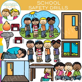 School Safety Drills Clip Art.