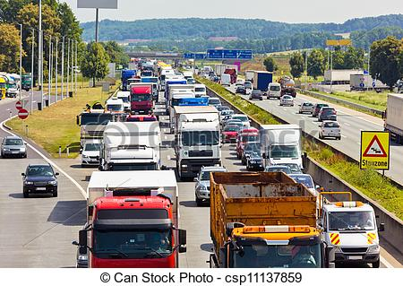 Stock Images of traffic jam on highway.