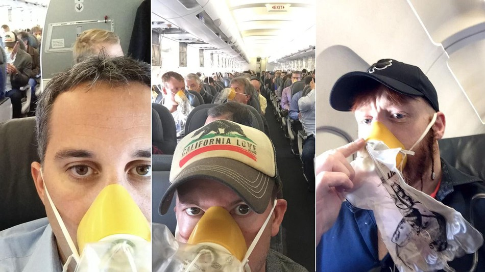 Passengers post oxygen mask selfies as plane makes emergency landing.