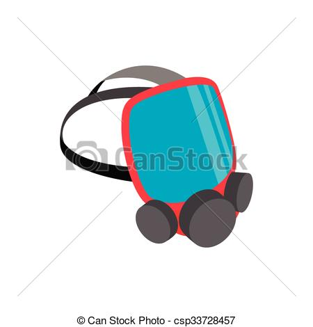 Clipart Vector of Mask for a firefighter isometric 3d icon on a.