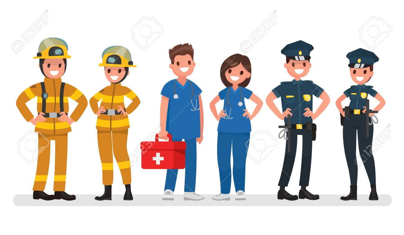 Police, fire and ambulance Emergency services Vector illustration...
