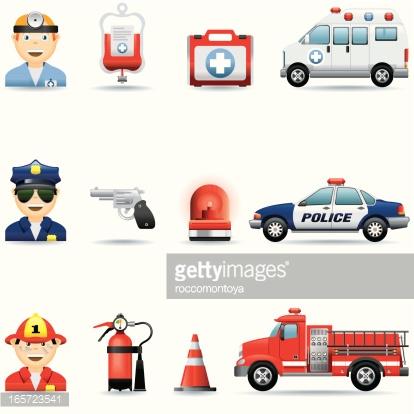 Icon Set Emergency Services Vector Art.