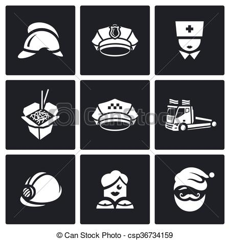 Clipart Vector of Vector Set of Emergency Services Icons.