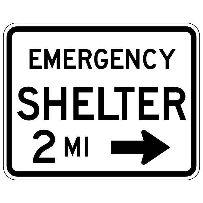 EMERGENCY SHELTER ROAD VECTOR SIGN.
