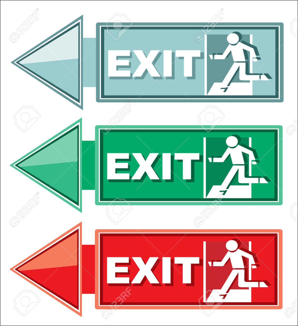 Emergency Exit Door, Sign With Human Figure On Stairs Royalty Free.
