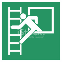 Safe Condition Sign,emergency Exit With Fire Escape Stairs stock.
