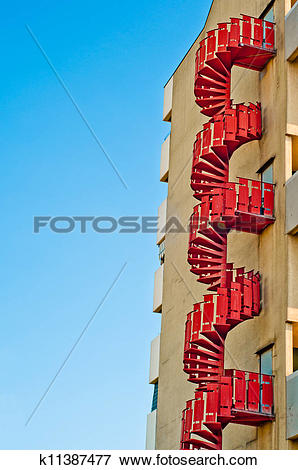 Picture of emergency stairs. urban architecture background.
