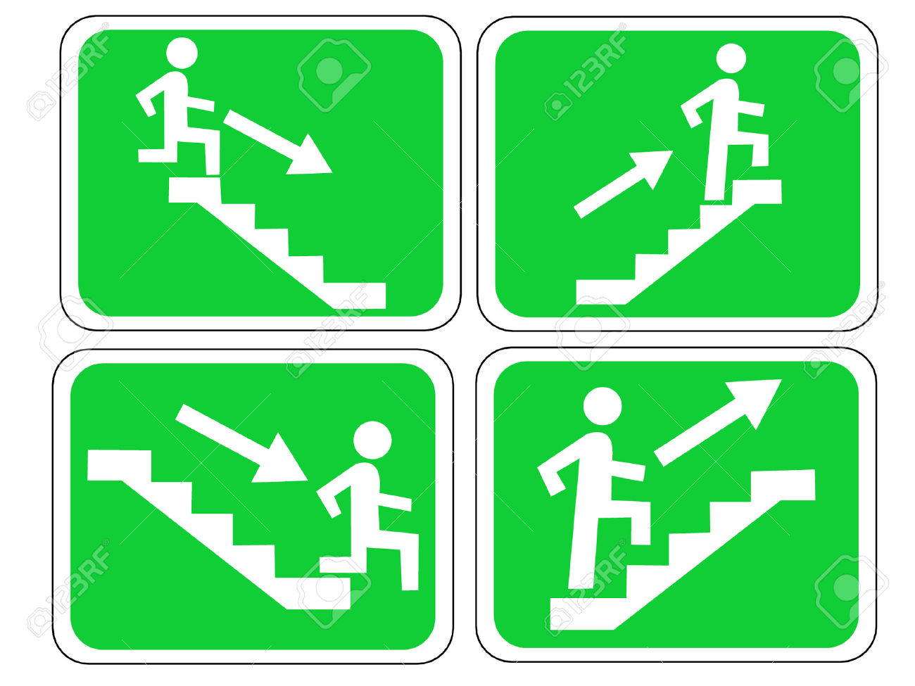 Emergency Exit Sign With Figure And Stairs Royalty Free Cliparts.